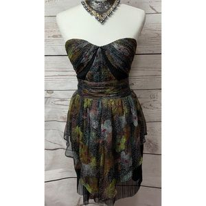 NWOT Hype Floral Pattern Strapless Dress Size 8